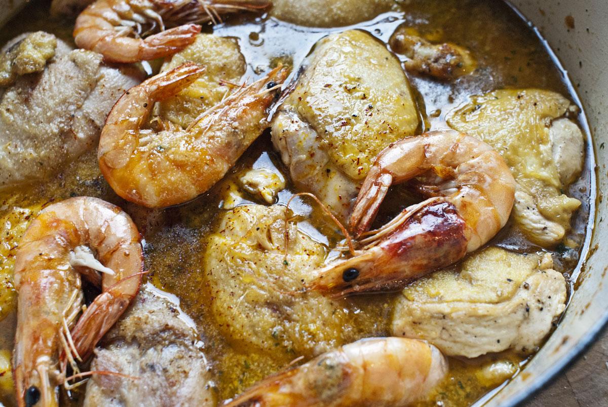 chicken & prawns